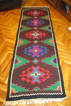 Antique hand woven wool Romanian carpet rug from Transylvania - long - code 72 Wool Carpet, Rugs On Carpet, Red Carpet, Tribal Rug, Carpet Runner, Woven Rug, Kilim Rugs, Hand Weaving, Rugs