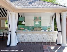 A Haute Outdoor Retreat | At Home Arkansas | March 2014 | Photographer: Nancy Nolan | Designer: Tobi Fairley @Tobi Fairley #barstools #bar #tufted #blackandwhite #aqua #backsplash #poolside