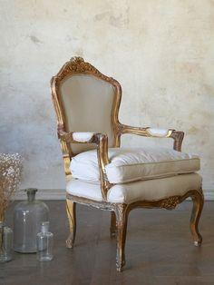 Vintage Louis XVI French Armchair with Original Gilt Finish...
