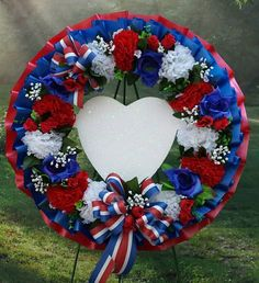 Cemetery Wreath CUSTOMIZE Red White and Blue Sympathy