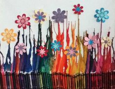 melted crayon art for kids Crafts To Make, Fun Crafts, Crafts For Kids, Arts And Crafts, Crayon Crafts, Crayon Art, Melting Crayons, Crafty Craft, Crafting