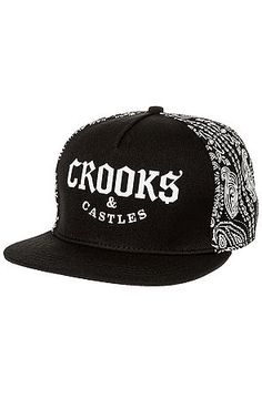 The Bandit Snapback Hat in Black by Crooks and Castles