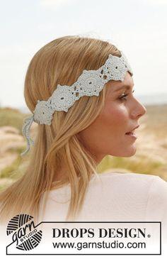 "Crochet DROPS head band with hexagons in ""Safran""."