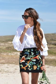 ruffled shirt + embroidered skirt | stellawantstodie | Bloglovin'