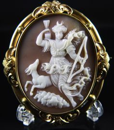 "XXLarge Victorian Cameo Brooch of ""Artemis (Diana) on the Hunt"""