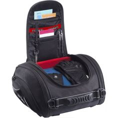 "Cortech Super 2.0 24-Liter Motorcycle Tail Bag – Black / 13.4″ L x 14.2″ W x 7.5″ D  Cortech Super 2.0 24-Liter Motorcycle Tail Bag - Black / 13.4"" L x 14.2"" W x 7.5"" D   1680 denier ballistic polyester and 1800 denier three-lined twill Jacquard weave side pockets with a polyester backing  Will mount to Cortech 2.0 Sport Saddlebags or by themselves  Removable neoprene base  Two-tone red and black soft interior lining  Quick-release mounting system with storage pockets for mounting st.."