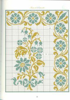 Beaded Cross Stitch, Cross Stitch Borders, Cross Stitch Flowers, Cross Stitch Designs, Cross Stitching, Cross Stitch Patterns, Diy Embroidery, Cross Stitch Embroidery, Embroidery Patterns