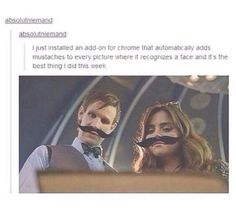 Eleven and Clara with mustaches