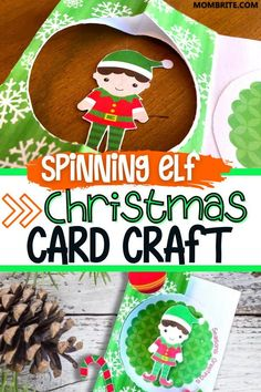 Do your kids love making DIY holiday gifts? Your kids will definitely love this whimsical and fun Spinning Elf Christmas Card craft! Be sure to follow along with the step-by-step tutorial and use the free printable template. Christmas Card Crafts, Christmas Card Template, Diy Holiday Gifts, Christmas Cards To Make, Christmas Elf, Fun Projects, Free Printables, Crafts For Kids, Crafts For Children