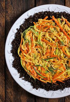 Shoestring Summer Vegetables with Lentils and Smoky Tahini Dressing from SoupAddict.com.  A protein-packed side dish with summer squash, zuc...