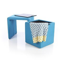 Stash Aqua Storage Ottoman in Ottomans & Cubes | Crate and Barrel ...