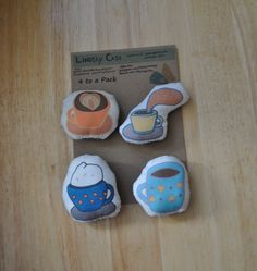 4 Plush Coffee in Mugs Magnets or Wearable Pins by thelindentree, $10.00