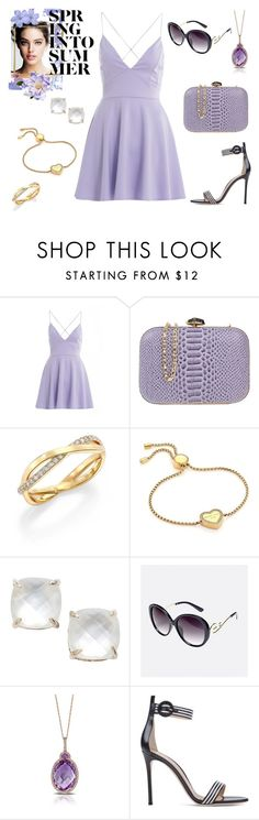 """""""spring beauty"""" by supabebek ❤ liked on Polyvore featuring AX Paris, Chiara P, De Beers, Michael Kors, Kate Spade, Avenue, Marco Moore, purple, sundress and lilas"""