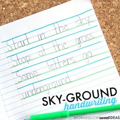 Use the sky ground technique of writing to help kids improve legibility through imporved line awareness, letter formation, and letter size.