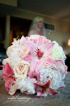 Flowers & Fancies bouquet of pink lilies, white roses, pink calla lilies and white peonies