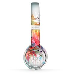 The Neon Colored Watercolor Branch Skin Set for the Beats by Dre Solo 2 Wireless Headphones
