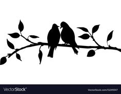 Birds at tree silhouettes Royalty Free Vector Image Tree Silhouette, Silhouette Vector, Silhouette Design, Bird Stencil, Stencil Painting, Wall Painting Decor, Mini Canvas Art, Bird On Branch, Art N Craft