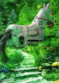 Wooden Horse Villa via Home Unusual Buildings, Interesting Buildings, Amazing Buildings, Crazy Houses, Weird Houses, Beautiful Homes, Beautiful Places, Strange Places, Unusual Homes