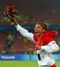 Natasha Kai of United States after receiving her Gold, medal following the Women's Football Gold Medal match between Brazil and the United States on Day 13 of the Beijing 2008 Olympic Games on August 21, 2008 at Worker's Stadium in Beijing, China.