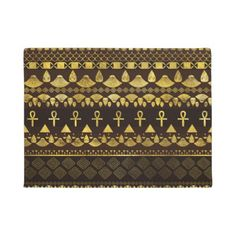 #Egyptian Ethnic Pattern gold on rich browns Doormat - #doormats #home & #living