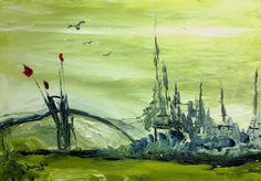 Desperate Growth is a small commercial painting showing a few red flowers surviving in a green world.