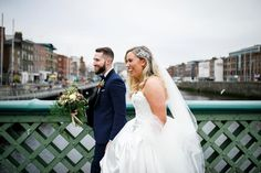 """As we crossed the Liffey the familiar sounds of """"Congratulations!"""" rang out from passers by. 🖤 One cheeky chap shouted out to Andrew… Dublin City, Shout Out, This Is Us, Congratulations, Wedding Photography, Weddings, Wedding Dresses, Instagram, Bride Dresses"""