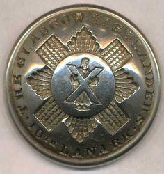 10th Lanarkshire Glasgow Highlanders  Rifle Volunteer Corp.  Silver Plate Officers 23mm  1880-1894 Firmin & sons Ld.  47 Warwick St-153 Strand  London