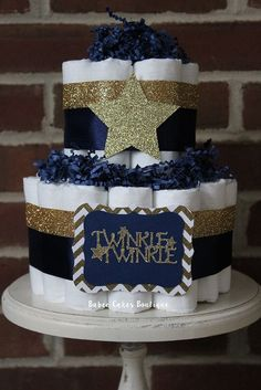 2 Tier Navy and Gold Twinkle Twinkle Diaper Cake, Gold Navy Diaper Cake, Gold Star Baby Shower, Twinkle Twinkle Little Star, Boy Baby Shower