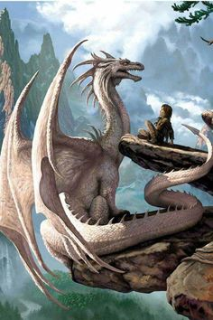 White dragon and boy