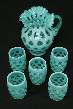 Fenton Blue Opalescent Glass Coin Dot Pitcher 5 Tumblers Water Set