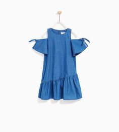 Image 4 of DRESS WITH SHOULDER BOWS from Zara