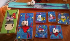Funny Animals on Wood with Pebbles Eyes by Forkodesignshop on Etsy