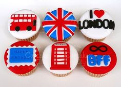 London Party Inspiration by Bella Bella Studios. Happy Birthday Cupcakes, Cute Cupcakes, Themed Cupcakes, Birthday Parties, Royal Cupcakes, London Theme Parties, London Party, London Cake, British Cake