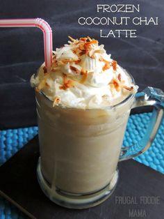 Frozen Coconut Chai Latte via thefrugalfoodiemama.com #dairyfree #yaywater