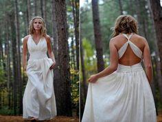 Greek inspired cross back halter wedding dress - Green Wedding Guide