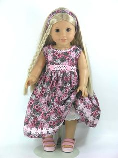 1970s Julie American Girl Doll Clothes - Pink, Brown Flowers - Exclusively Linda Doll Clothes