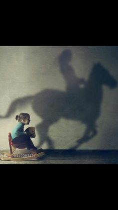 This was so me when I was a little girl!!!...and I had a stick horse when I really wanted to get somewhere. When I was six I graduated to the real thing...been horse crazy ever since.
