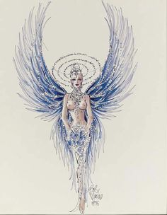 """1975 A proposed costume design by Bob Mackie for the number """"I Married an Angel"""" from the Las Vegas show, """"Jubilee"""", felt pen and watercolor on paper, signed Carnival Outfits, Carnival Costumes, Girl Costumes, Dance Costumes, Mode Hollywood, Old Hollywood Movies, Carnival Outfit Carribean, Showgirl Costume, Pen And Watercolor"""