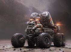 Mining truck vehicle, Halo 5, John Wallin Liberto on ArtStation at https://www.artstation.com/artwork/mining-truck-vehicle-halo-5