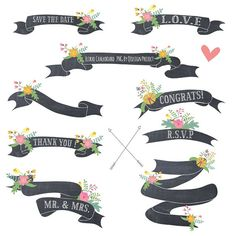 Floral Chalkboard Banner Clipart, Floral banner, Chalkboard Ribbon, for scrapbooking, wedding invitation, personal and commercial use