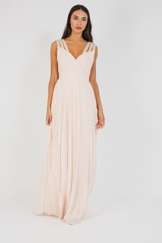 TFNC Maxi Dress<br /> <br /> - Maxi Length<br /> - Delicate Chiffon Material<br /> - V Neck and Back <br /> <br /> Material: Polyester.<br /> Care: Hand Wash Only. Bridesmaid Dresses, Maxi Dresses, Wedding Dresses, Tfnc, Nude Dress, Chiffon Material, V Neck, Delicate, Style
