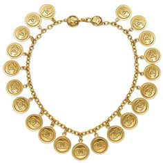 Gold Etched Coin Choker ($2,250) ❤ liked on Polyvore featuring jewelry, necklaces, coin necklace, gold choker necklaces, gold coin jewelry, choker jewelry and choker jewellery