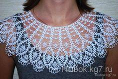 Crochet Pattern - Beanie with Leaves - Design Peak Crochet Collar Pattern, Col Crochet, Crochet Lace Collar, Crochet Blouse, Crochet Chart, Crochet Stitches, Crochet Designs, Crochet Patterns, Business Dress