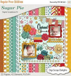 50% OFF TODAY Sugar Pie Digital Scrapbook Kit w  Red, Teal, Green, Yellow Gold Instant Download. Banners Limited CU  #scrapbooking #digiscrapdelights #scrapbookingkits #captured