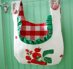 new CLOTHESPIN BAG summer strawberries ruffles gingham VINTAGE shabby chic laundry pegbag holder cottage farmhouse gift. $26.95, via Etsy.