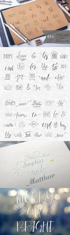 Hand drawn Catchwords and Ampersands. Wedding Card Templates
