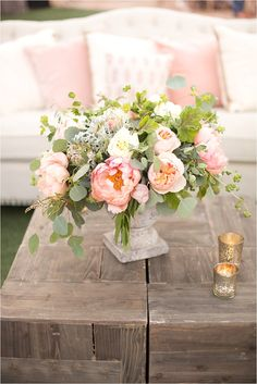If you're planning on having your wedding in a church, you need to consider the best wedding flowers for your venue. That way, you can add a magical and romantic touch to your special day. You will have an easy time choosing church wedding flowers to. Wedding Arrangements, Wedding Table Centerpieces, Floral Arrangements, Wedding Decorations, Summer Flower Centerpieces, Graduation Centerpiece, Quinceanera Centerpieces, Candle Centerpieces, Spring Wedding Bouquets
