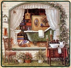 Fancy Bath Shoppe a painting of the window and front yard of the Fancy Bath Shoppe displays an antique claw foot bathtub, towels, soaps, lotions and an antique washstand with water pitcher and wash bowl. Another Janet Kruskamp Interior and Exterior Scene, featuring original oil paintings by Janet Kruskamp.