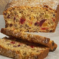Fruitcake... or fruit bread? This quick and easy batter bread is packed with fruit and nuts, but is less sweet and very mildly spiced, unlike traditional fruitcakes. This is a great cake to bake if you feel obliged, by the holiday spirit, to have a fruitcake in the house. Read our blog about this cake, with additional photos, at Bakers' Banter.    90-minute fruitcake