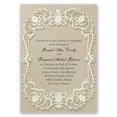 Graceful Lace Wedding Invitation by David's Bridal #davidsbridal #weddinginvitation #romanticwedding